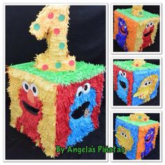 Sesame Street custom made piñata by angela's pinata's elmo cookie monster big bird sesame street birthday party decoration pinata on Etsy, Www Facebook.com/angelaspinatas