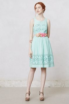 Love the hair, the mint dress, and the floral belt! Never seen that before, really cute idea!