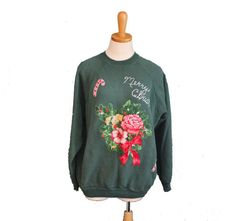 Vintage Ugly Christmas Sweater  Green Iron by bluebutterflyvintage, $28.00