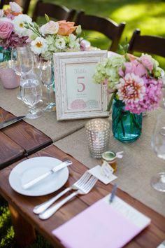 Pretty table decor: http://www.stylemepretty.com/little-black-book-blog/2014/12/23/romantic-summer-sonoma-wedding/   Photography: Jihan Cerda - http://www.jihancerda.com/