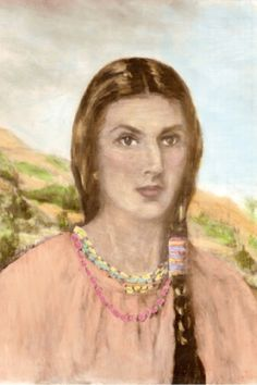 """Sehoy Marchand, the Indian """"princess"""" Wind Clan.  We descend from her granddaughter Sophie, sister to William Red Eagle Weatherford, who led the Red Stix against the White Stix and Andrew Jackson in the Creek Indian Wars.  Sophie's twins Rachel and Rebecca were born during the conflict.  Rachel is my direct ancestor."""