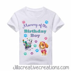 Paw Patrol T-Shirt ALL WORDING CAN BE CHANGED TODDLER SIZE CHART YOUTH SIZE CHART ADULT SIZE CHART