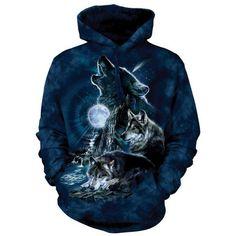 Bark at the Moon Wolf Hoodie Hooded Sweatshirt ($40) ❤ liked on Polyvore featuring tops, hoodies, cotton hoodies, blue hoodies and blue top