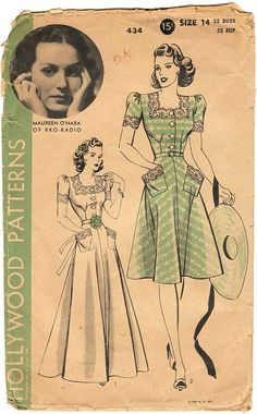 1940s Hollywood Sewing Pattern 434 Maureen O'Hara Copyright: ca 1940 Size: 14 Bust: 32 Hip: 35