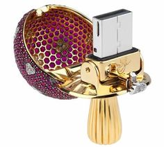 Magic Mushroom USB key in yellow gold, white diamonds and rubies