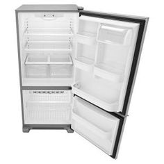 in Stainless Steel by Amana in Seattle, WA - Wide Bottom-Freezer Refrigerator with Garden Fresh Crisper Bins -- 18 cu. 4 Door Refrigerator, Bottom Freezer Refrigerator, Stainless Steel Refrigerator, Stainless Steel Doors, Door Shelves, Door Storage, Storage Bins, Glass Shelves, Products