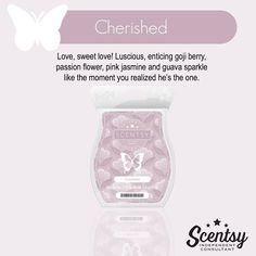 Scentsy's Cherished available in a wax bar, scent circle, and a room spray. https://gretajansen.scentsy.us/Buy/Search?query=cherished