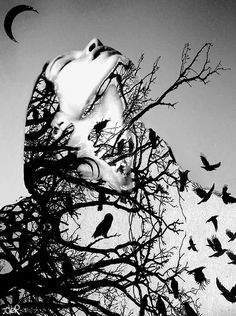 Don't Look Down Art Print by Loui Jover Monochrome Photography, Creative Photography, White Photography, Grunge Photography, Food Photography, Double Exposure Photography, Foto Art, Surreal Art, Fractal Art