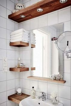 Small Bathroom Storage Ideas 002 Having a minimalist bathroom is a challenge for homeowners How to arrange the toilet storage area to make it look neat and orderly visit. Small Bathroom Storage, Bathroom Design Small, Bathroom Interior Design, Toilet Storage, Bathroom Organization, Bathroom Shelves, Small Storage, Bathroom Designs, Interior Ideas