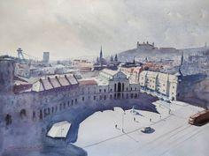 watercolor painting Bratislava, Paris Skyline, Watercolor Paintings, Travel, Art, Art Background, Viajes, Water Colors, Kunst