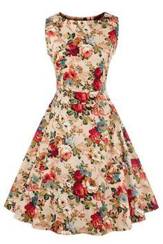 Vintage Round Neck Sleeveless Floral Print Knee-Length Dress For Women