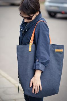 BANDA navy blue  xxl shoulder bags tote bag with  by bandabag