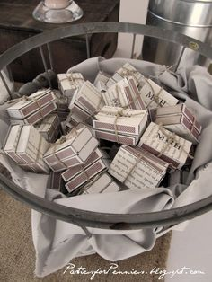 Book page matchbox favors from PartiesforPennies.com #weddings #weddingfavors #partyfavors