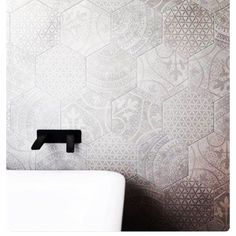 Beautiful mix pattern hex in store now! Bathroom Renos, Bathroom Fixtures, Bathroom Ideas, Bathrooms, Decorating Tips, Interior Decorating, Hex Tile, Backsplash Tile, Interior Styling