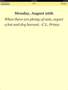 When there are plenty of nuts, expect a hot and dry harvest. - C.L. Prince  From The Old Farmer's Almanac Weather Lore App for iOS and Android.