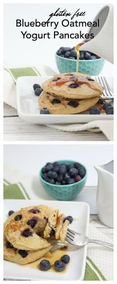 These Gluten Free Blueberry Oatmeal Yogurt Pancakes are a gluten free pancake high in protein for a delicious, healthier breakfast! Pancake Recipe With Yogurt, Yogurt Pancakes, Pancakes And Waffles, Pancake Recipes, Vegetarian Breakfast Recipes, Brunch Recipes, Dessert Recipes, Desserts, Gluten Free Blueberry