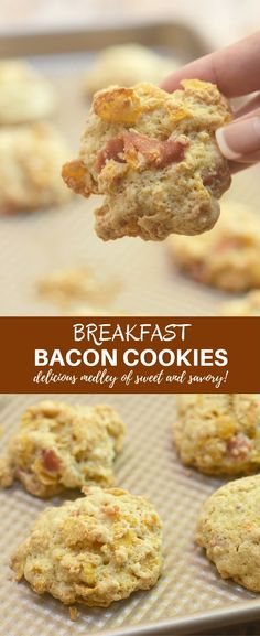 Breakfast Bacon Cookies with crisp bacon and cornflakes are the ultimate treat to kick-start your morning. They're crisp, chewy and a delicious medley of sweet and savory!