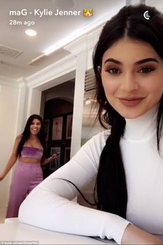 Sister act: The pair were goofing around on Kylie's Snapchat video