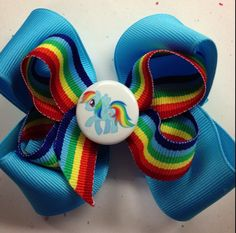 4 Boutique layered My Little Pony Bows  Rainbow Dash by AMPMbows, $6.50