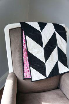 Herringbone quilt at https://www.etsy.com/listing/193739128/modern-baby-quilt-black-white