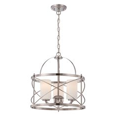 Ginger Brushed Nickel Three Light Drum Pendant With Etched Opal Glass Drum Pendant Lighti
