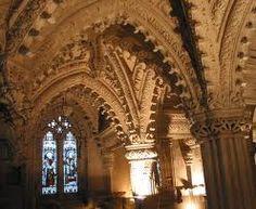 Rosslyn Chapel - Midlothian, Scotland.  http://en.wikipedia.org/wiki/Rosslyn_Chapel