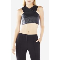 BCBGMAXAZRIA Nyella Banded Bra Top (90 CAD) ❤ liked on Polyvore featuring tops, black, crop top, cross over top, v neck top, v-neck top and cut out bra top