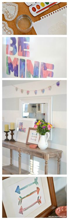 Easiest and most kid-friendly valentine decor. Let the kids go crazy with the watercolors.
