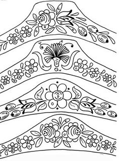 One Stroke Painting, Tole Painting, Fabric Painting, Painting & Drawing, Wood Burning Patterns, Wood Burning Art, Folk Embroidery, Embroidery Patterns, Rosemaling Pattern
