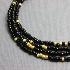 Black and Gold Seed Bead Necklace, Black and Gold Beaded Necklace