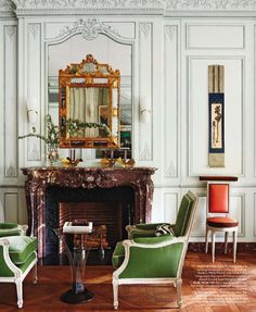 elements of this.  Dark wood, gold mirror, kelly green.  a little black.    Love this green.  Robert Couturier.
