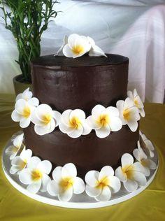 Frangipani Cake - Chocolate cake with plumeria/frangipani gum paste flowers