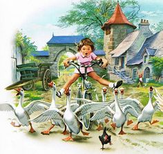 Marlier, Marcel Girl Riding Bike Through Barnyard Fowl Marcel, Art And Illustration, Images Vintage, Baby Kind, Vintage Children, Illustrators, Cute Pictures, Art Drawings, Barn