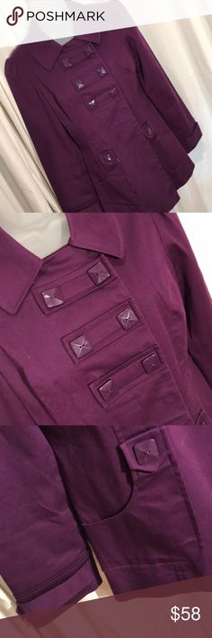 [Sandro Sportswear] S purple jacket gorgeous Like new jacket   Fully lined - pretty plaid   Large snaps ( fabric covered )   Large square buttons ( but non- functional bc of handy snaps )   Very well-made, great quality jacket   A2  OD 6 Sandro Jackets & Coats Blazers