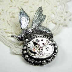 Steampunk Bee Pin by SteamTrunkStudio on Etsy, $25.00