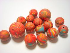 Marbled+Red+and+Turquoise+Handmade+Polymer+Clay+by+PennysLane,+$10.75