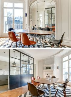 PROJECTS:   A large window which looks over the internal courtyard and full-length mirror with its original cabochons makes this space open and light. In the centre, one of Charlotte's favourite pieces: Magnum table by Pierre Favresse for La Chance.   See more --> http://magazine.designbest.com/en/projects/period-apartment-with-unique-Parisian-flair/?utm_source=pinterest&utm_campaign=SOCIAL-activities&utm_content=period-apartment-with-unique-Parisian-flair%2F