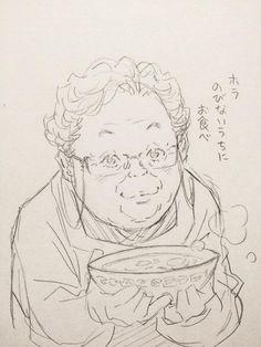 ふと思い出したご近所のおばあちゃん。〆切前の疲れた時にお手製ラーメンを差し入れてくれた。by 窪之内英策 / EISAKU KUBONOUCHI #Illustration Manga, Anime Drawing Styles, Face Sketch, Anime Sketch, Character Design References, Art Studies, Art Inspo, Anime Characters, Art Sketches