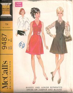 Vintage 1960's Dress and Blouse Pattern McCall's 9487.