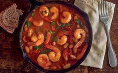 Garlic Shrimp with White Beans and Tomatoes: Chad found this one in Runner's World mag. It turned out to be a great dish; I used cilantro instead of parsley but not sure it made a difference. Would be good with other seafood- sauce seems similar to gumbo. Had rice as a side with it. Might do salad next time.