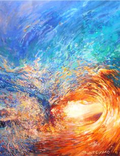 Art Print large Poster print of Painting titled Let it Wash over you Wave Crashing in sunset