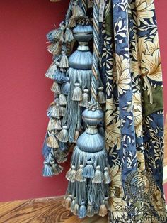 Layers of blue Curtain Tie Backs, Curtain Fabric, Swags And Tails, Balloon Shades, Shibori, Bridal Chura, Passementerie, Curtain Designs, Simple Elegance