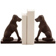 Harley Iron Bookends - Pair of Dogs - Chimney GrayDimensions: H: 8'' • W: 6'' • D: 3''Item Weight: 6.2Material: Iron/Marble