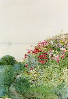 Field of Poppies, Isles of Shaos, Appledore by Childe Hassam in 1890