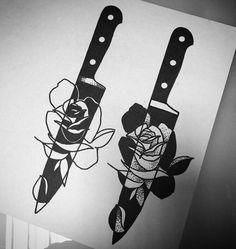 Tattoo Sketches, Tattoo Drawings, Body Art Tattoos, Art Sketches, Sleeve Tattoos, Art Drawings, Blackwork, Knife Tattoo, Tattoo Graphic