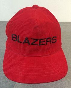 5443245baa0 BLAZERS Hat 80 s Vintage Snap Back Red Corduroy Portland Basketball Sewn NEW!   BaseballCap Portland