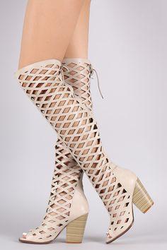 Diamond Cutout Back Lace-Up Chunky Heeled Boots