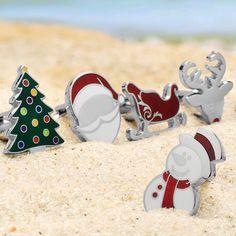 Santa-Pattern Cufflinks Father Christmas Cufflinks Mens Cuff Links Christmas Xmas Gift