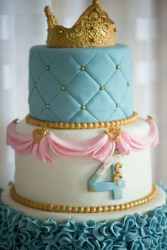 Cake from a Princess Cinderella Themed Birthday Party via Kara's Party Ideas | KarasPartyIdeas.com (14)