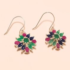925 Sterling Silver Emerald, Sapphire, Ruby Gemstone Earring Cocktail Jewelry AA #Handmade #DangleDrop #WeddingEngagement